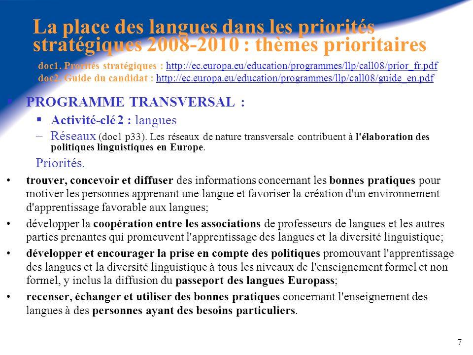 7 La place des langues dans les priorités stratégiques 2008-2010 : thèmes prioritaires doc1. Prorités stratégiques : http://ec.europa.eu/education/pro