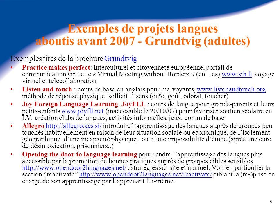 9 Exemples de projets langues aboutis avant 2007 - Grundtvig (adultes) Exemples tirés de la brochure GrundtvigGrundtvig Practice makes perfect: Interc