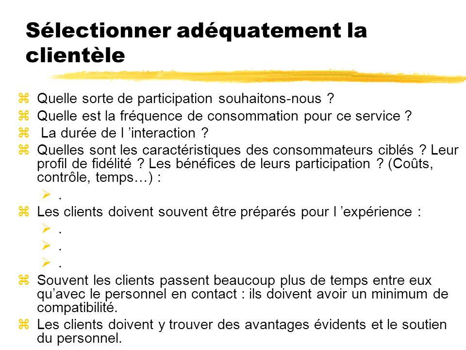 Sélectionner adéquatement la clientèle zQuelle sorte de participation souhaitons-nous ? zQuelle est la fréquence de consommation pour ce service ? z L