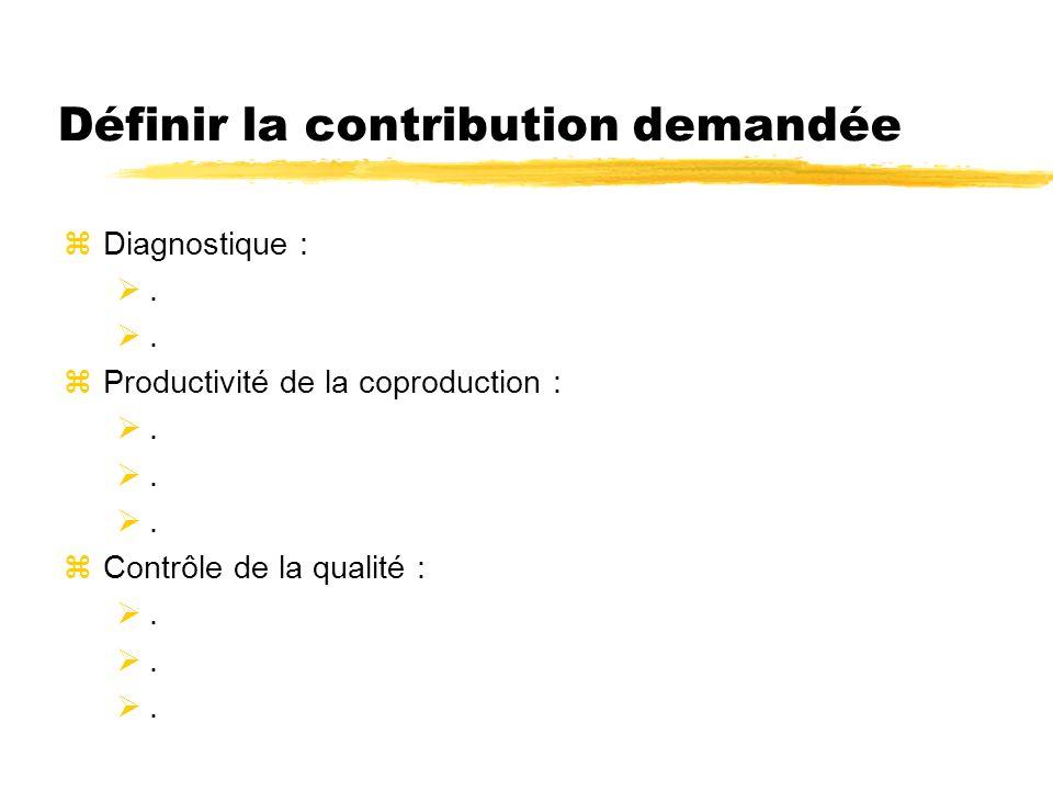 Définir la contribution demandée zDiagnostique :. zProductivité de la coproduction :. zContrôle de la qualité :.