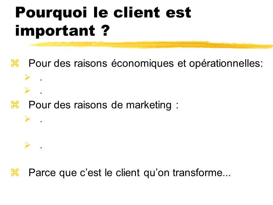 Pourquoi le client est important ? zPour des raisons économiques et opérationnelles:. zPour des raisons de marketing :. zParce que cest le client quon