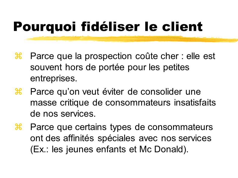 Pourquoi fidéliser le client zParce que la prospection coûte cher : elle est souvent hors de portée pour les petites entreprises. zParce quon veut évi