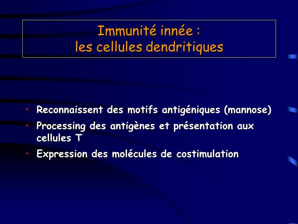 Immunité innée : les cellules dendritiques Reconnaissent des motifs antigéniques (mannose)Reconnaissent des motifs antigéniques (mannose) Processing d