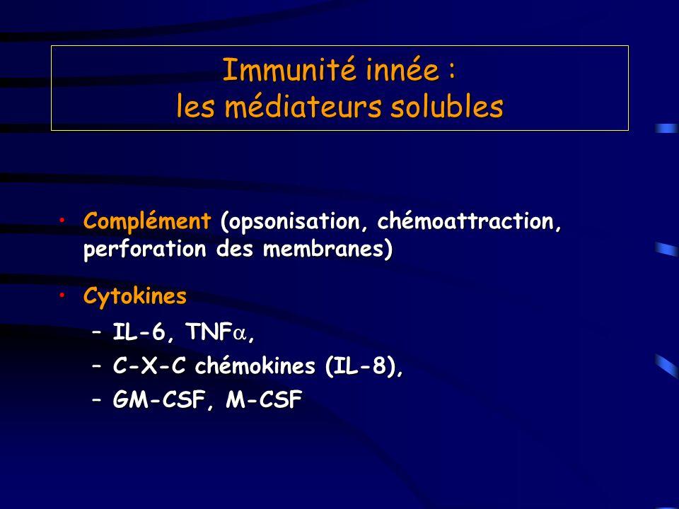 Immunité innée : les médiateurs solubles Complément (opsonisation, chémoattraction, perforation des membranes)Complément (opsonisation, chémoattractio