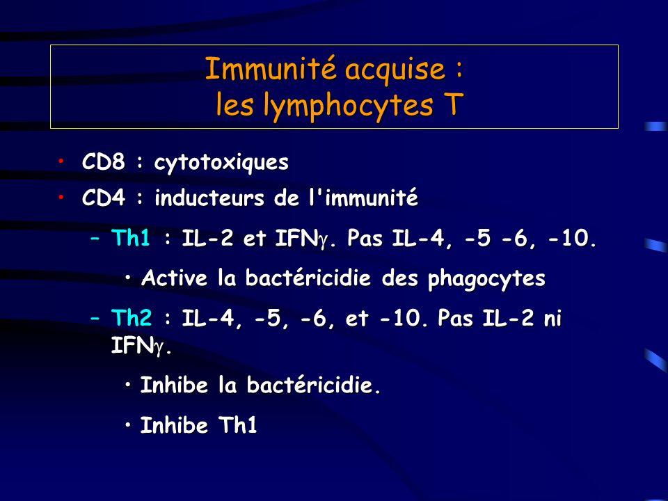 Immunité acquise : les lymphocytes T CD8 : cytotoxiquesCD8 : cytotoxiques CD4 : inducteurs de l'immunitéCD4 : inducteurs de l'immunité –Th1 : IL-2 et