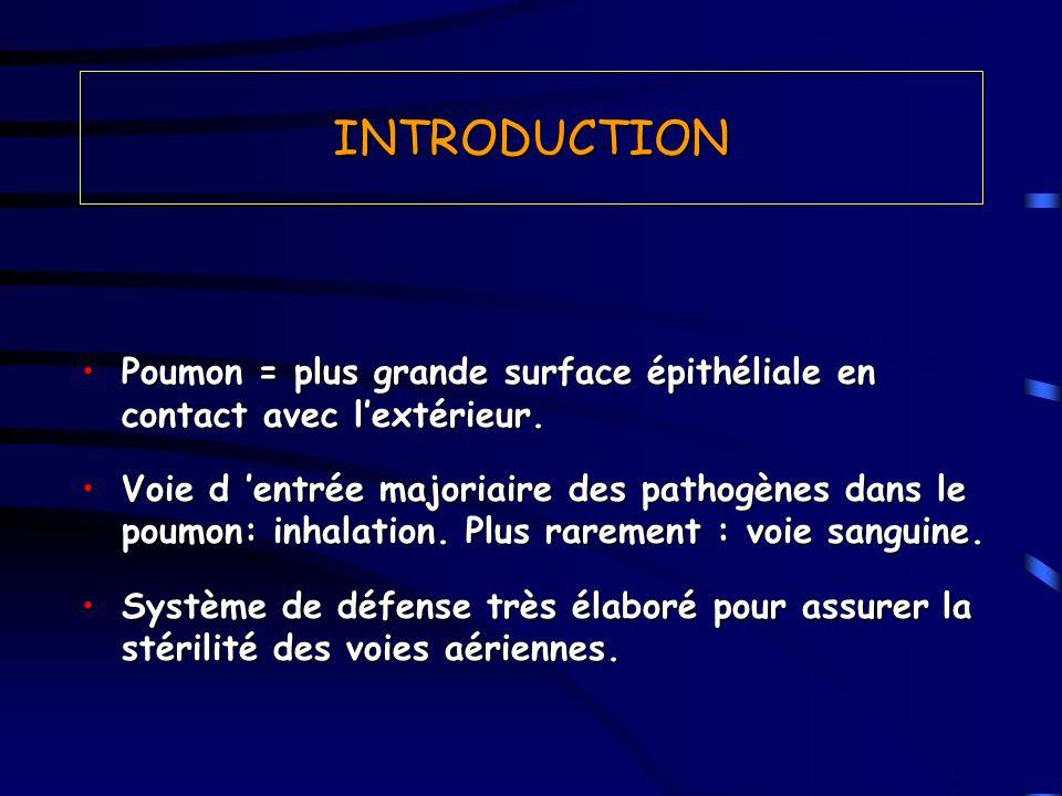 INTRODUCTION Poumon = plus grande surface épithéliale en contact avec lextérieur.Poumon = plus grande surface épithéliale en contact avec lextérieur.