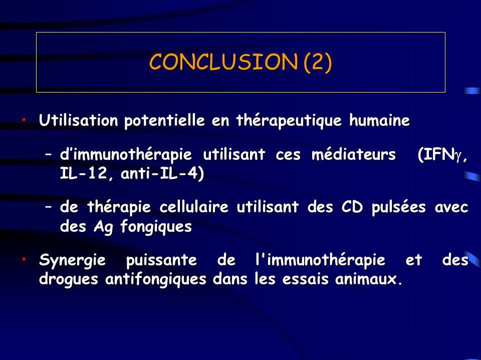 Utilisation potentielle en thérapeutique humaineUtilisation potentielle en thérapeutique humaine –dimmunothérapie utilisant ces médiateurs (IFN, IL-12