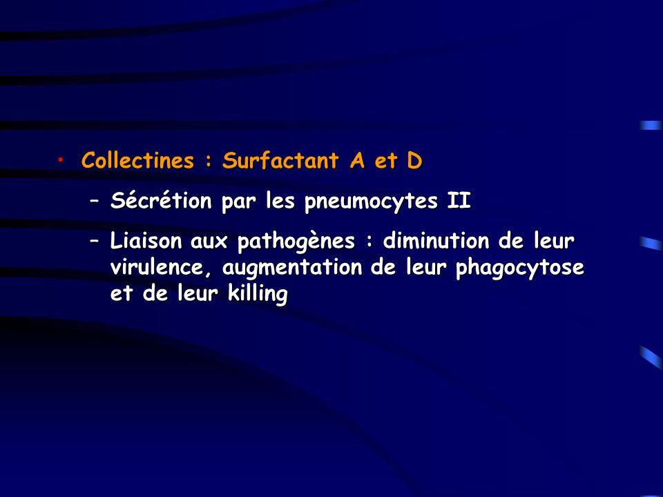Collectines : Surfactant A et DCollectines : Surfactant A et D –Sécrétion par les pneumocytes II –Liaison aux pathogènes : diminution de leur virulenc