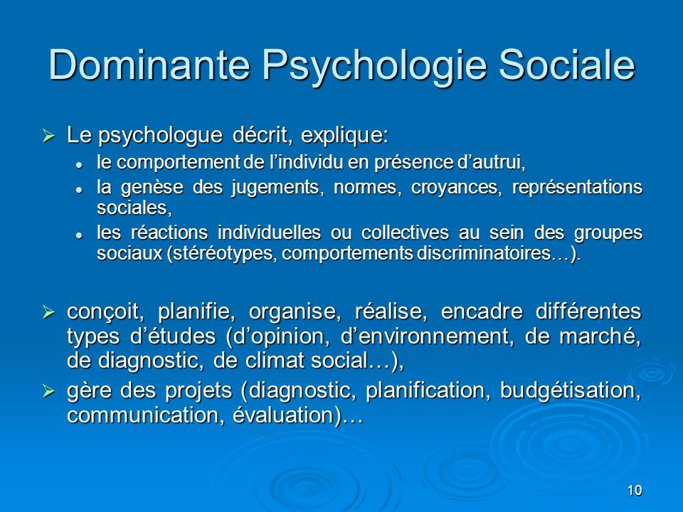 10 Dominante Psychologie Sociale Le psychologue décrit, explique: Le psychologue décrit, explique: le comportement de lindividu en présence dautrui, l