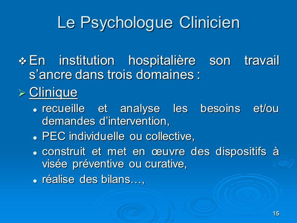 15 Le Psychologue Clinicien En institution hospitalière son travail sancre dans trois domaines : En institution hospitalière son travail sancre dans t