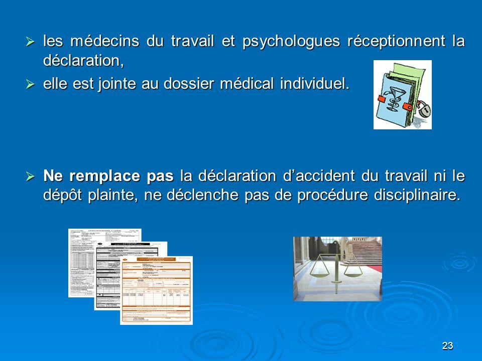 23 les médecins du travail et psychologues réceptionnent la déclaration, les médecins du travail et psychologues réceptionnent la déclaration, elle es