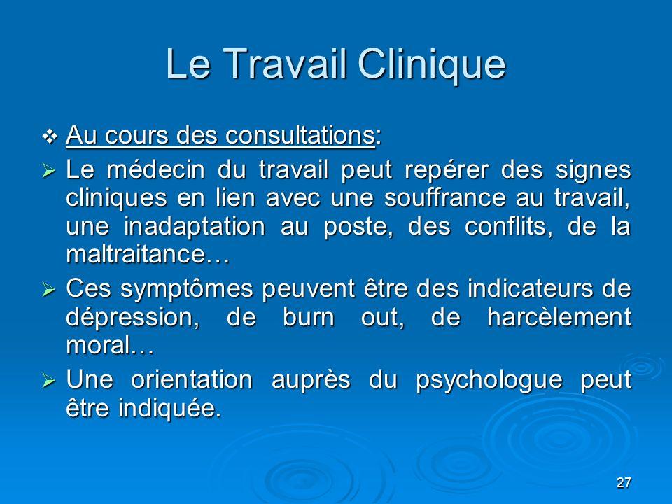27 Le Travail Clinique Au cours des consultations: Au cours des consultations: Le médecin du travail peut repérer des signes cliniques en lien avec un