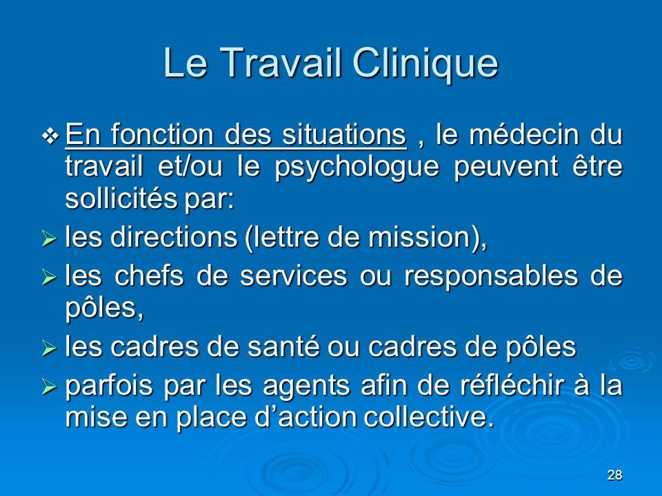 28 Le Travail Clinique En fonction des situations, le médecin du travail et/ou le psychologue peuvent être sollicités par: En fonction des situations,