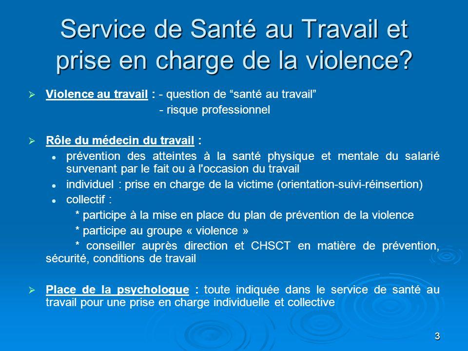 3 Service de Santé au Travail et prise en charge de la violence? Violence au travail : - question de santé au travail - risque professionnel Rôle du m