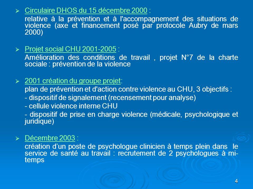 4 Circulaire DHOS du 15 décembre 2000 : relative à la prévention et à l'accompagnement des situations de violence (axe et financement posé par protoco