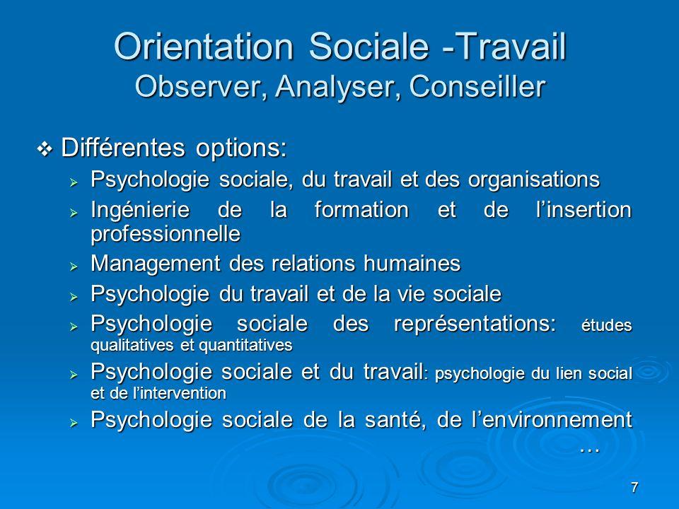 7 Orientation Sociale -Travail Observer, Analyser, Conseiller Différentes options: Différentes options: Psychologie sociale, du travail et des organis