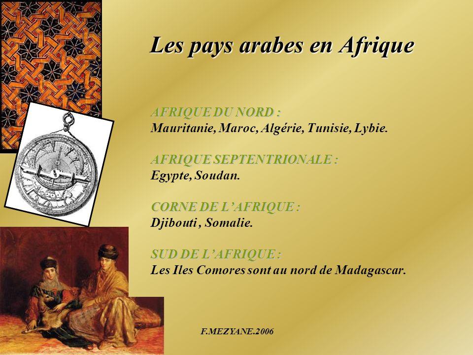 F.MEZYANE.2006 Les pays arabes en Afrique AFRIQUE DU NORD : Mauritanie, Maroc, Algérie, Tunisie, Lybie. AFRIQUE SEPTENTRIONALE : Egypte, Soudan. CORNE