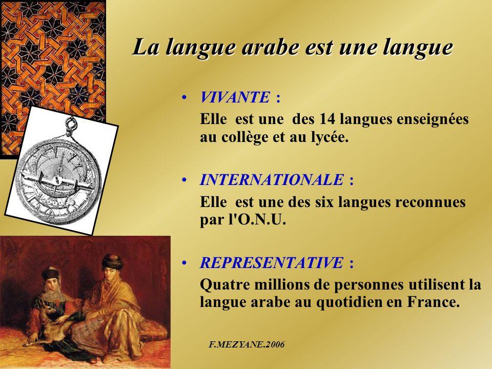 F.MEZYANE.2006 La langue arabe est une langue VIVANTE : Elle est une des 14 langues enseignées au collège et au lycée. INTERNATIONALE : Elle est une d