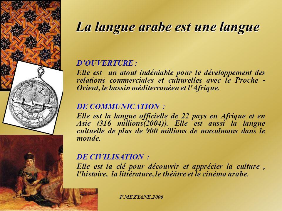 F.MEZYANE.2006 La langue arabe est une langue D'OUVERTURE : Elle est un atout indéniable pour le développement des relations commerciales et culturell