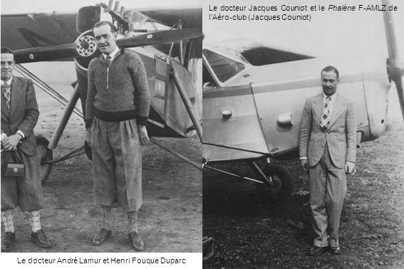 Le docteur André Lamur et Henri Fouque Duparc Le docteur Jacques Couniot et le Phalène F-AMLZ de lAéro-club (Jacques Couniot)