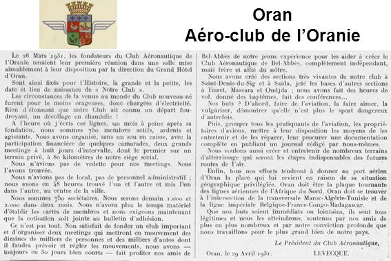 Oran Aéro-club de lOranie