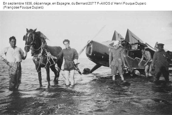 En septembre 1935, dépannage, en Espagne, du Bernard 207 T F-AMOS d Henri Fouque Duparc (Françoise Fouque Duparc)
