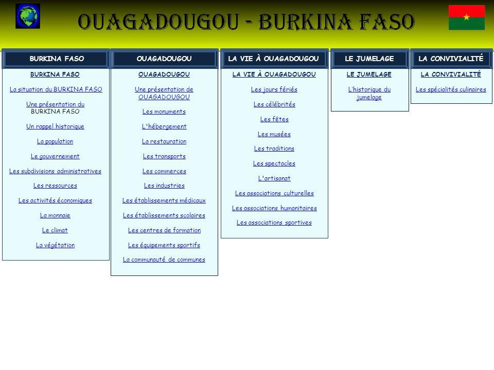 OUAGADOUGOULA VIE À OUAGADOUGOU BURKINA FASOLE JUMELAGELA CONVIVIALITÉ LE JUMELAGE Lhistorique du jumelage LA CONVIVIALITÉ Les spécialités culinaires