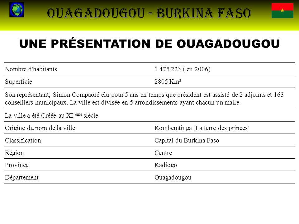 UNE PRÉSENTATION DE OUAGADOUGOU Nombre d'habitants1 475 223 ( en 2006) Superficie2805 Km² Son représentant, Simon Compaoré élu pour 5 ans en temps que