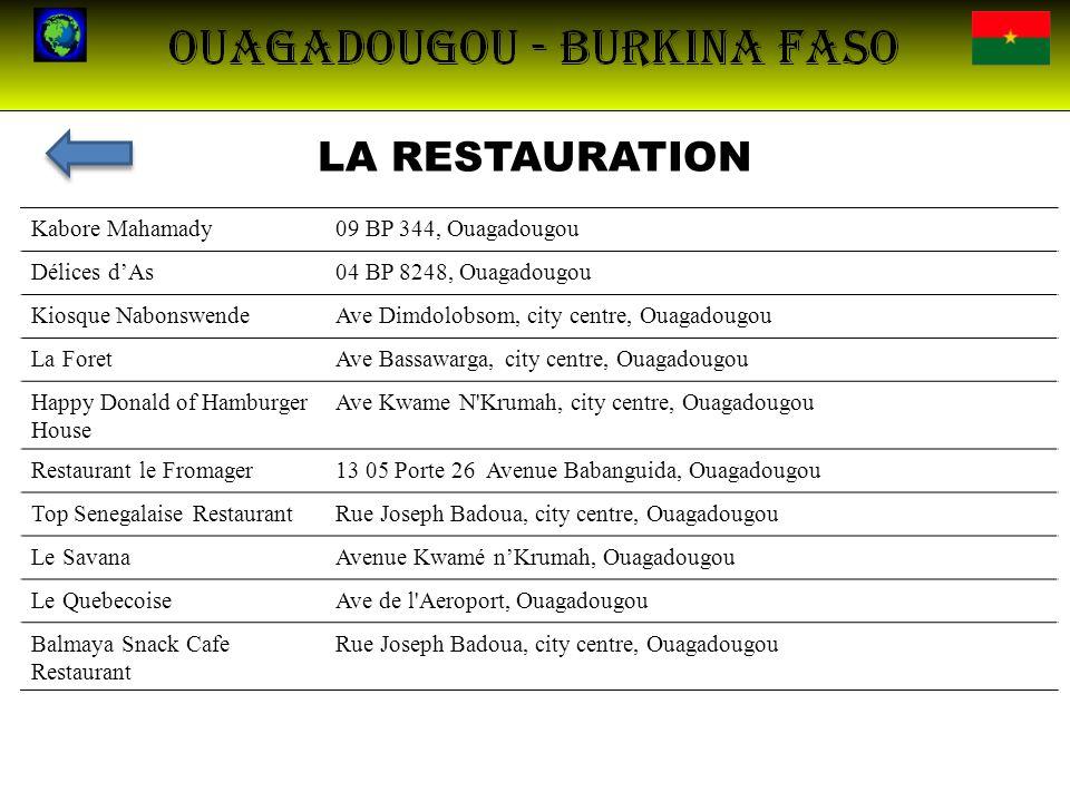 LA RESTAURATION Kabore Mahamady09 BP 344, Ouagadougou Délices dAs04 BP 8248, Ouagadougou Kiosque NabonswendeAve Dimdolobsom, city centre, Ouagadougou