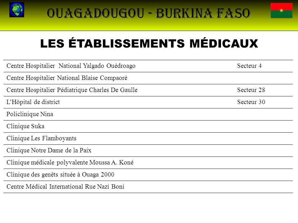 LES ÉTABLISSEMENTS MÉDICAUX Centre Hospitalier National Yalgado OuédroagoSecteur 4 Centre Hospitalier National Blaise Compaoré Centre Hospitalier Pédi