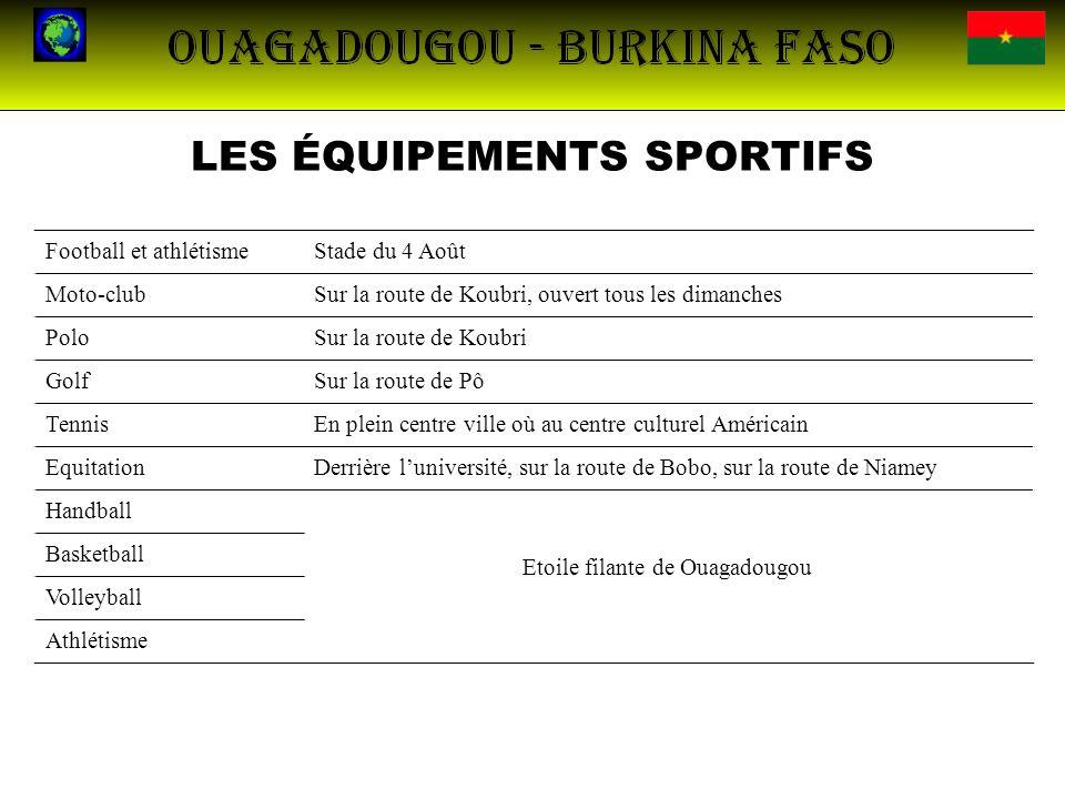 LES ÉQUIPEMENTS SPORTIFS Football et athlétismeStade du 4 Août Moto-clubSur la route de Koubri, ouvert tous les dimanches PoloSur la route de Koubri G