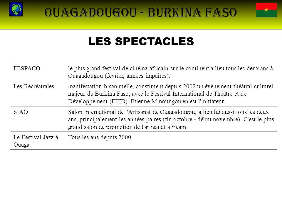 LES SPECTACLES FESPACOle plus grand festival de cinéma africain sur le continent a lieu tous les deux ans à Ouagadougou (février, années impaires). Le