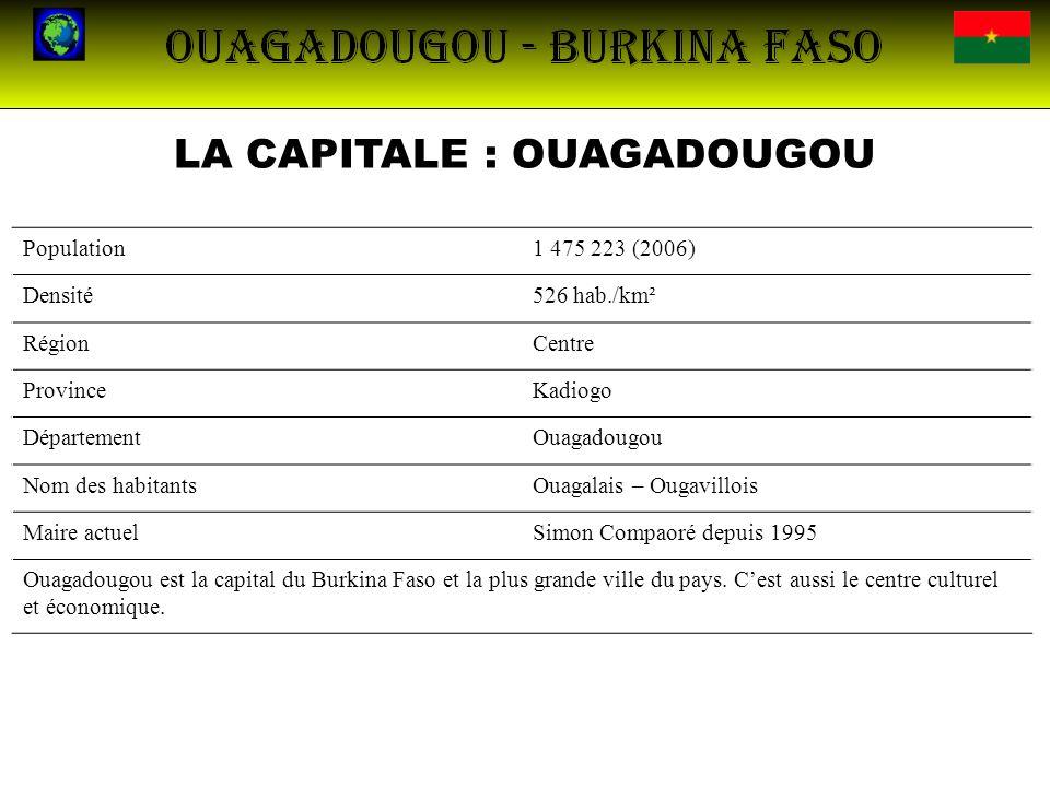 LA CAPITALE : OUAGADOUGOU Population1 475 223 (2006) Densité526 hab./km² RégionCentre ProvinceKadiogo DépartementOuagadougou Nom des habitantsOuagalai