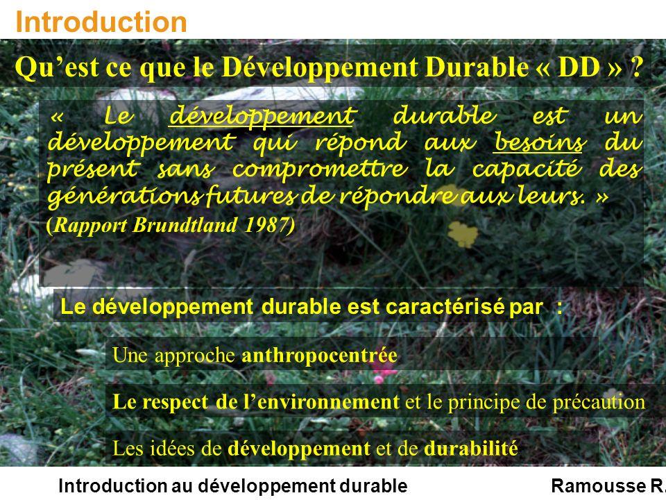 Introduction au développement durable Introduction La vie des populations humaines repose sur lutilisation des ressources biologiques et leur libre accès.