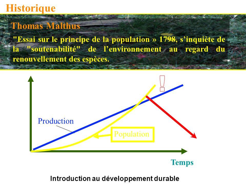 Introduction au développement durable Historique Thomas Malthus Essai sur le principe de la population » 1798, sinquiète de la soutenabilité de lenvironnement au regard du renouvellement des espèces.