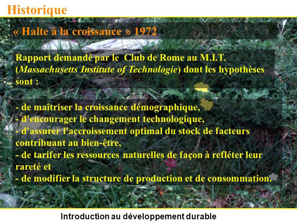 Introduction au développement durable Historique « Halte à la croissance » 1972 Rapport demandé par le Club de Rome au M.I.T. (Massachusetts Institute