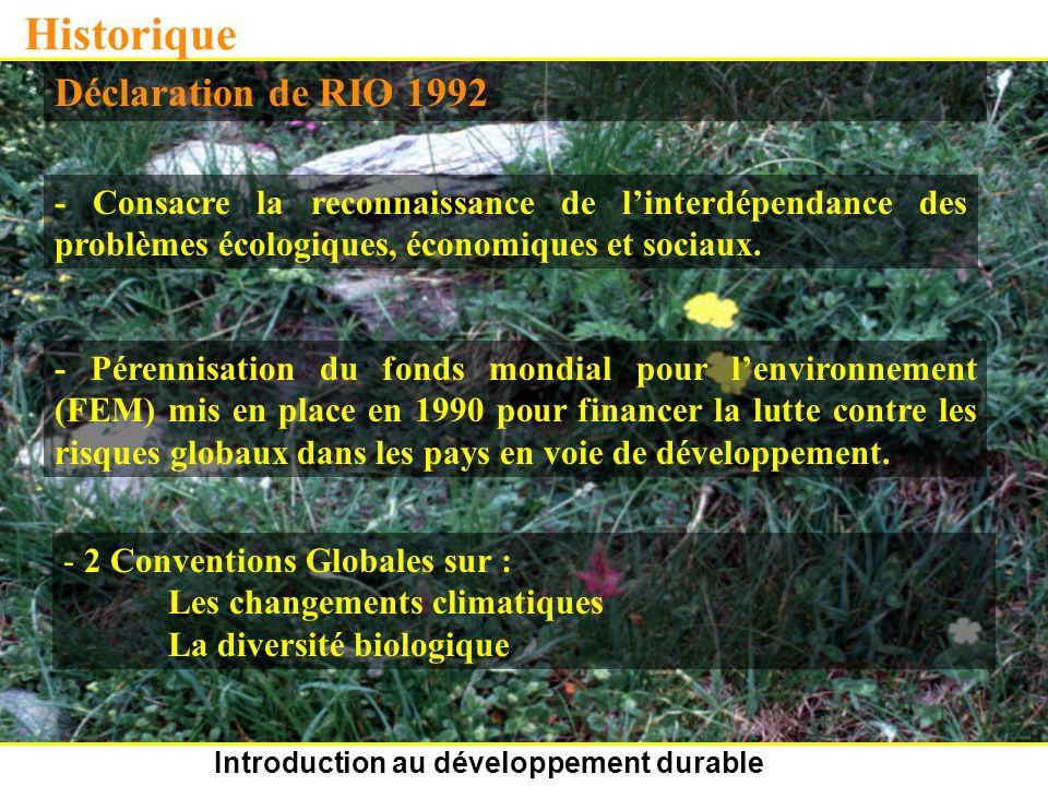 Introduction au développement durable Historique Déclaration de RIO 1992 - Consacre la reconnaissance de linterdépendance des problèmes écologiques, économiques et sociaux.