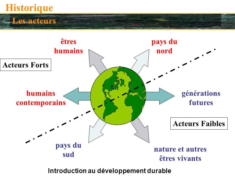 Introduction au développement durable Historique Les acteurs êtres humains nature et autres êtres vivants pays du nord pays du sud humains contemporains générations futures Acteurs Forts Acteurs Faibles