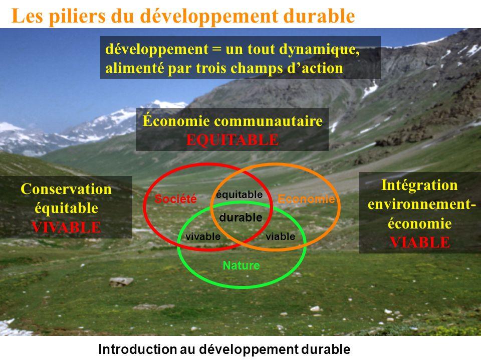Introduction au développement durable Les piliers du développement durable Nature SociétéEconomie vivableviable équitable durable développement = un tout dynamique, alimenté par trois champs daction Économie communautaire EQUITABLE Conservation équitable VIVABLE Intégration environnement- économie VIABLE