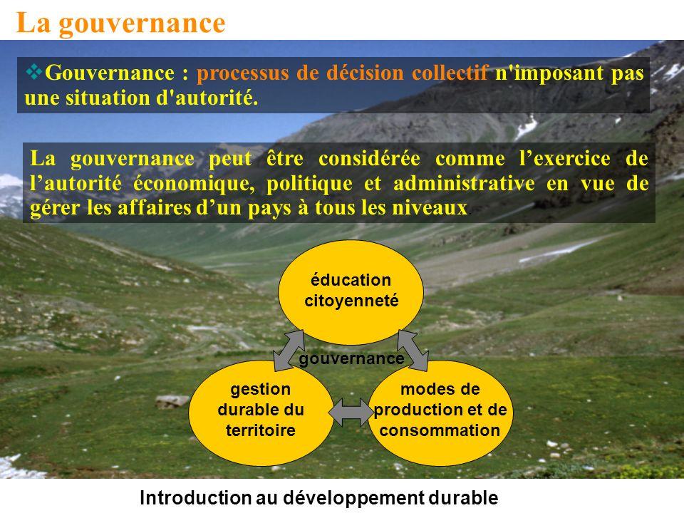 Introduction au développement durable La gouvernance La gouvernance peut être considérée comme lexercice de lautorité économique, politique et administrative en vue de gérer les affaires dun pays à tous les niveaux.