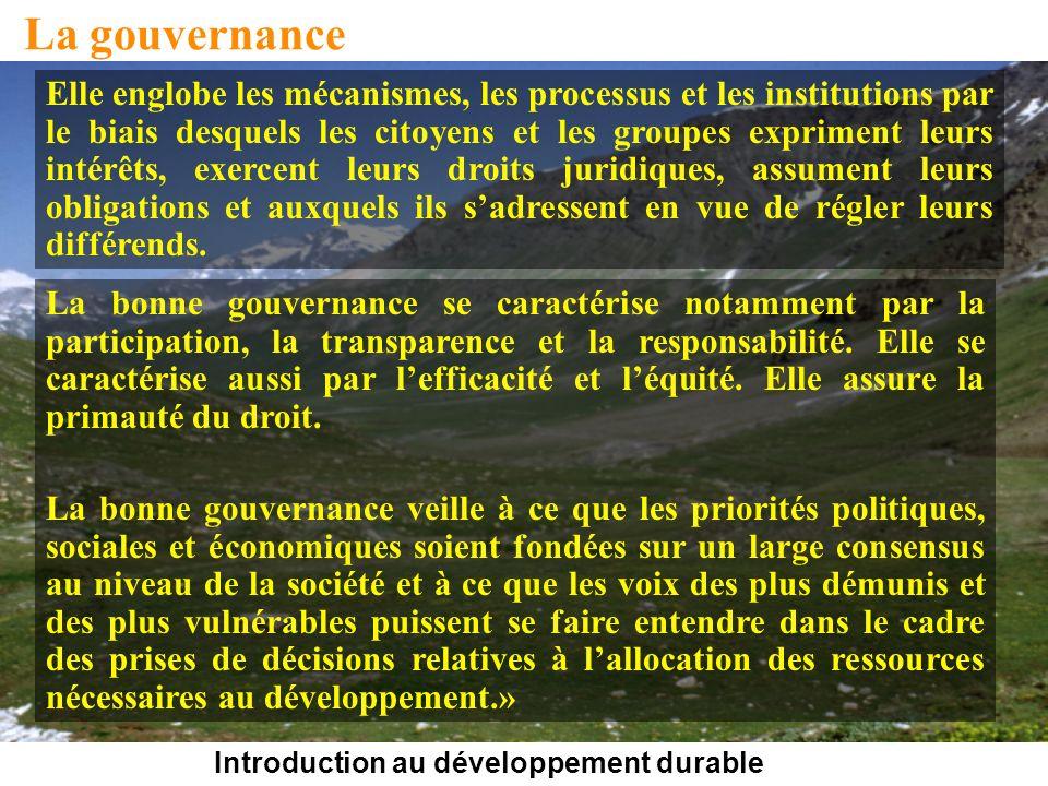 Introduction au développement durable La gouvernance Elle englobe les mécanismes, les processus et les institutions par le biais desquels les citoyens