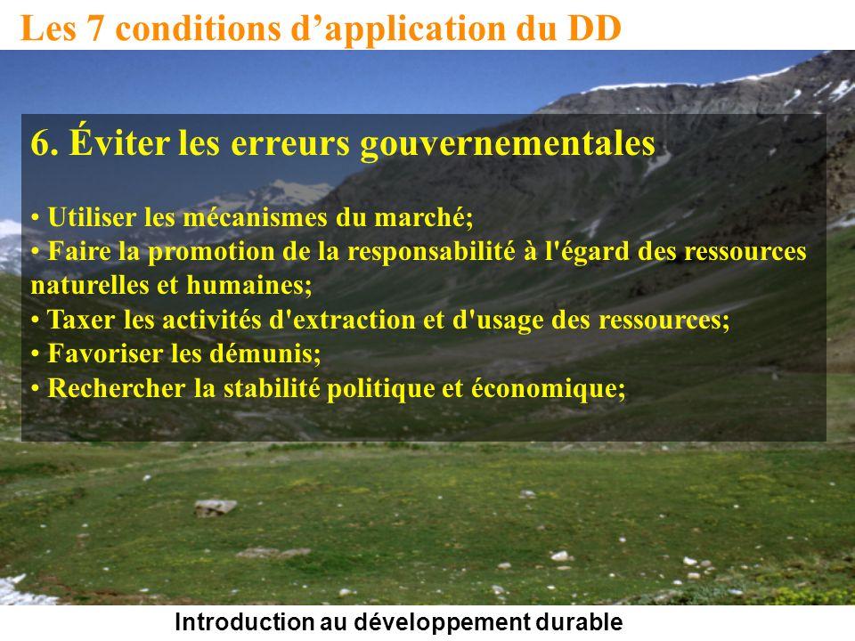 Introduction au développement durable Les 7 conditions dapplication du DD 6. Éviter les erreurs gouvernementales Utiliser les mécanismes du marché; Fa