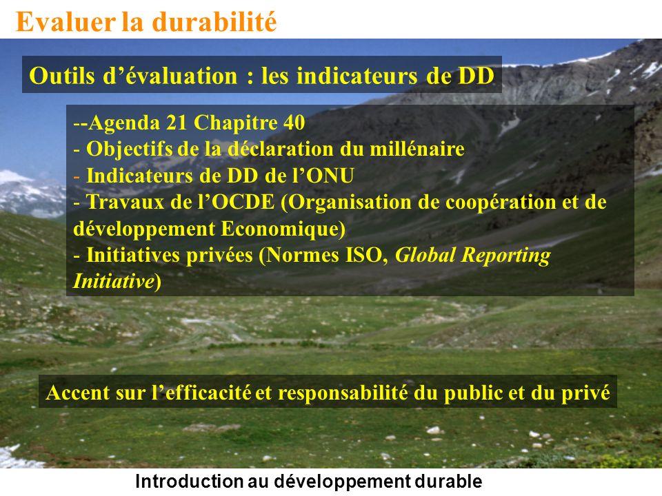 Introduction au développement durable Evaluer la durabilité Outils dévaluation : les indicateurs de DD --Agenda 21 Chapitre 40 - Objectifs de la décla
