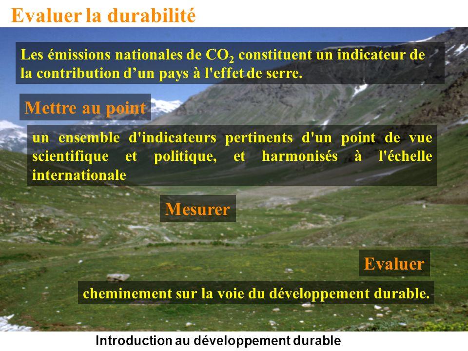 Introduction au développement durable Evaluer la durabilité Les émissions nationales de CO 2 constituent un indicateur de la contribution dun pays à l effet de serre.