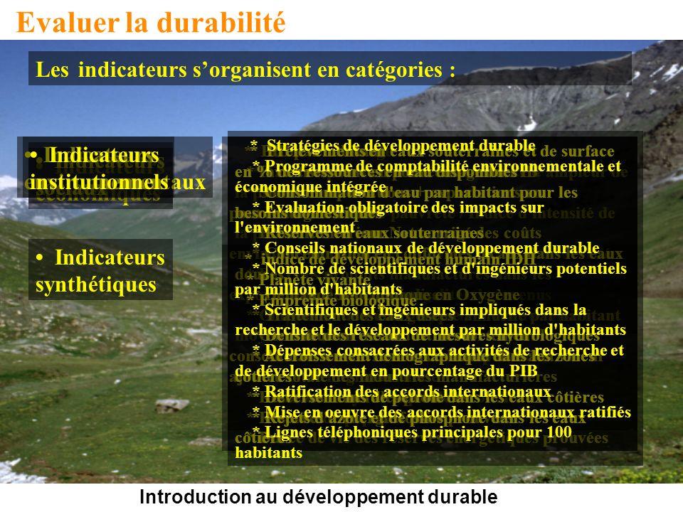 Introduction au développement durable Evaluer la durabilité Les indicateurs sorganisent en catégories : * Taux de chômage * Taux de pauvreté monétaire