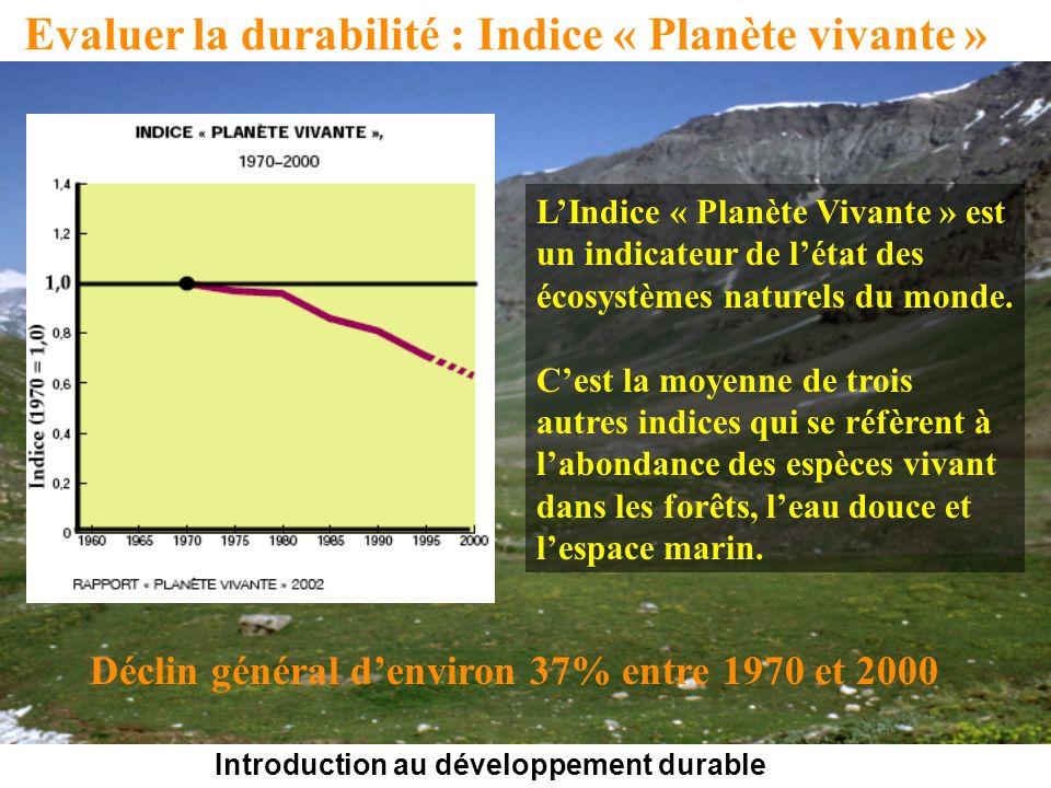 Introduction au développement durable Evaluer la durabilité : Indice « Planète vivante » LIndice « Planète Vivante » est un indicateur de létat des écosystèmes naturels du monde.