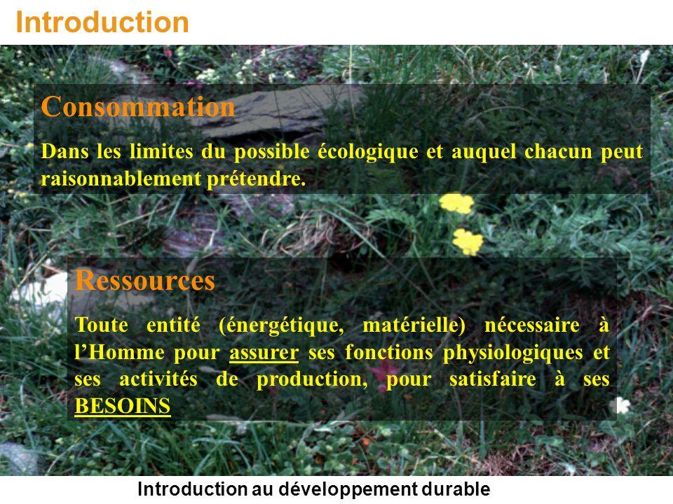 Introduction au développement durable Introduction Consommation Dans les limites du possible écologique et auquel chacun peut raisonnablement prétendr