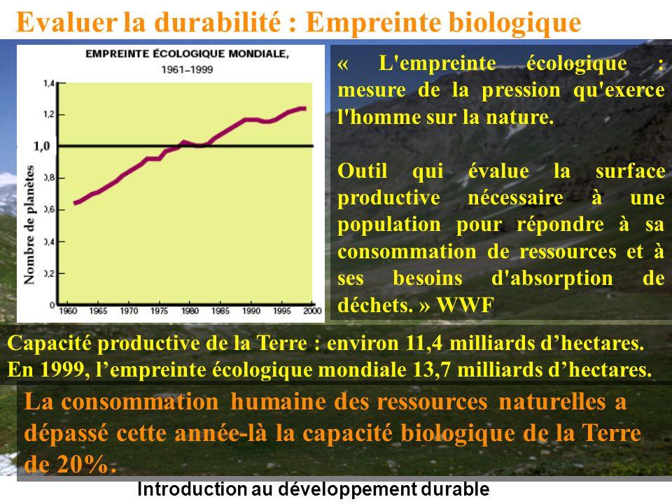 Introduction au développement durable Evaluer la durabilité : Empreinte biologique « L empreinte écologique : mesure de la pression qu exerce l homme sur la nature.