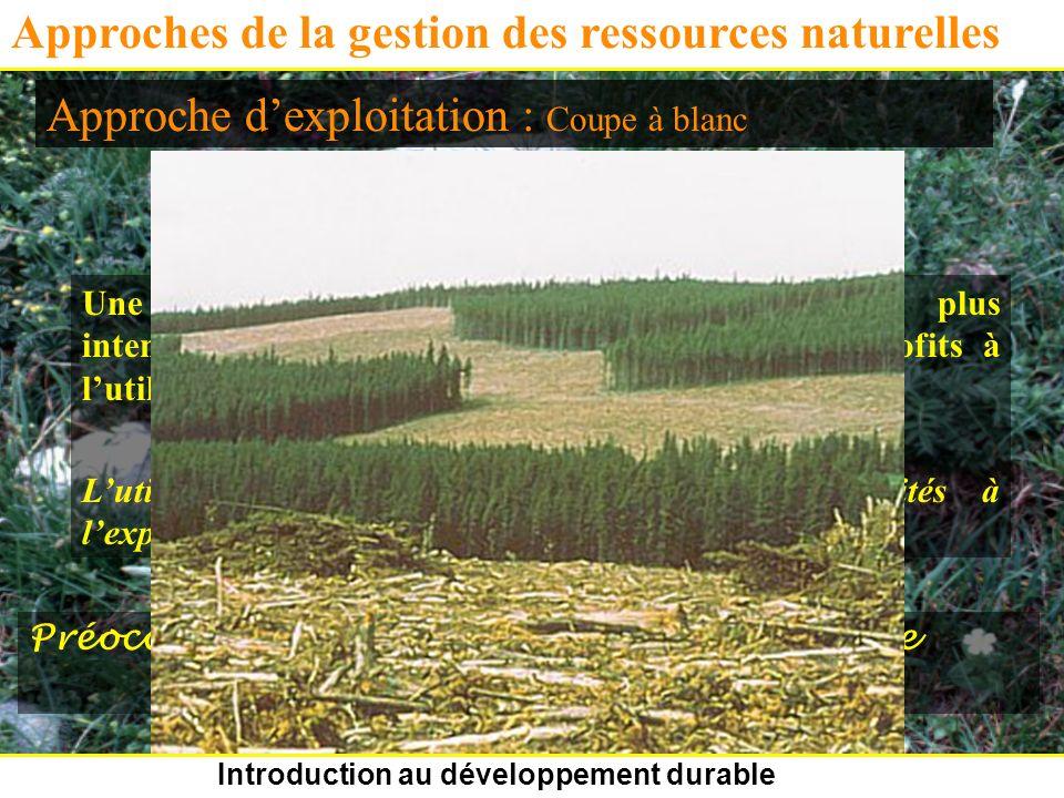 Introduction au développement durable Approches de la gestion des ressources naturelles Approche dexploitation Une ressource donnée devrait être utili
