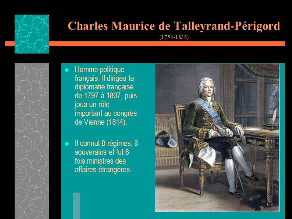 Charles Maurice de Talleyrand-Périgord (1754-1838) Homme politique français.